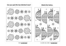 Aktywności strona dla dzieciaków z łamigłówkami i kolorystyką - płatek śniegu rzędy, połówki ornamenty royalty ilustracja