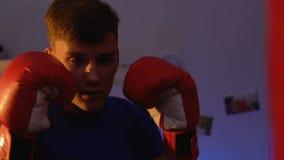 Aktywny facet w bokserskich rękawiczkach ćwiczy z uderzać pięścią torbę w domu, woli władza zdjęcie wideo