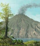 Aktywny wulkan otaczający dżunglą royalty ilustracja