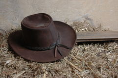 Akubra1. Akubra leather hat against straw background Stock Image