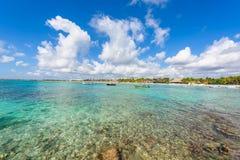 Akumal - bah?a del para?so con la playa blanca hermosa, cerca de Cancun, Yucat?n, M?xico foto de archivo