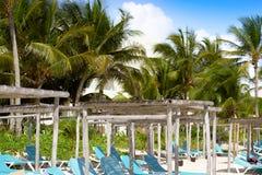 Akumal beach gazebos in Riviera Maya Mexico Royalty Free Stock Images