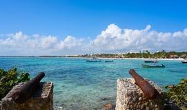 Akumal beach rusted canon in Riviera Maya. Akumal beach rusted iron canon in Riviera Maya of Mayan Mexico stock images
