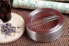 akupunktury lawendowi moxa igieł kije Zdjęcie Royalty Free