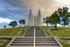 Akureyrarkirkja - η εκκλησία Akureyri, Ισλανδία Στοκ Εικόνα