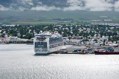 akureyri冰岛城镇视图 免版税库存图片
