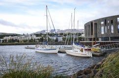 akureyri,冰岛口岸  库存图片