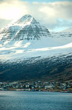 Akureyri, blue sea, snow mountain, Iceland Stock Photo