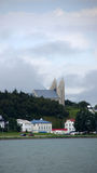 Akureyri church in Iceland. View from the bay to Akureyri church in Iceland stock photo
