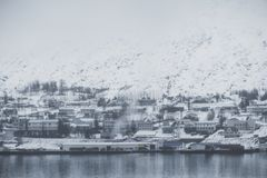 Akureyri city, Iceland in winter morning with foggy environment Royalty Free Stock Image