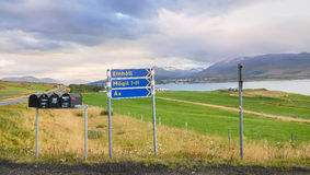 Akureyri city panoramic view under, air is fresh but mist Royalty Free Stock Photography