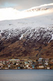 Akureyri at fjord, snow mountain, sunshine,  Iceland Stock Photography