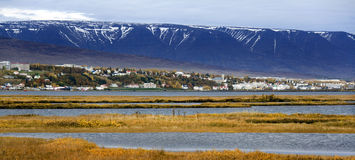 Akureyri - Iceland. The remote town of Akureyri in the north of Iceland. Akureyri is an important port and fishing center. The area has a relatively warm climate Stock Photos