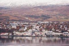 AKUREYRI, ICELAND - OCTOBER 19, 2014: Akureyri City Cityscape in Iceland. Royalty Free Stock Image