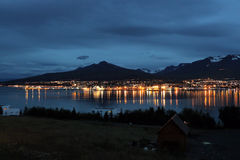 Akureyri in a night view, iceland Stock Photography