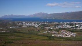 Akureyri panorama. Aerial view of Akureyri city, Eyjafjordur fjord and mountains around, Icelandic Stock Photo