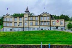 The Akureyri Theatre. AKUREYRI, ICELAND - JUNE 17, 2016: View of the Akureyri Theatre, in Akureyri, Iceland Royalty Free Stock Images