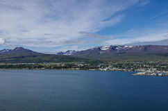 Akureyri viewed from the eastern shore of Eyjafjordur in Iceland Royalty Free Stock Photography