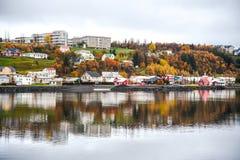 Akureyri w jesieni Iceland Zdjęcia Royalty Free