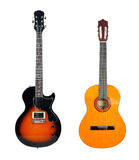 Akustikgitarre anf E-Gitarre Lizenzfreie Stockfotografie