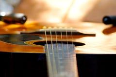 Akustikgitarre, die im Garten stillsteht lizenzfreie stockfotos