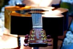 Akustikgitarre, die im Garten stillsteht stockbilder