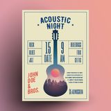Akustikgitarre-Live Music Night Party Concert-Plakat-oder -flieger-oder -fahnen-Schablone Auch im corel abgehobenen Betrag Stockfoto