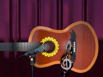 Akustikgitarre, Notenschlüssel und Mikrofon auf einem Vorhanghintergrund 3d Lizenzfreies Stockfoto