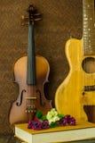 Akustikgitarre, Violine Lizenzfreies Stockbild