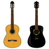 Akustikgitarre zwei auf einem weißen Hintergrund Auch im corel abgehobenen Betrag Stockfotografie