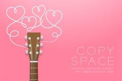 Akustikgitarrebraunfarbe und Herzsymbol gemacht von der Gitarrenschnurillustrations-Konzeptidee lokalisiert auf rosa Steigung vektor abbildung