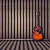 Akustikgitarreholzhintergrund Abbildung der roten Lilie Stockfotografie