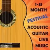 Akustische klassische Gitarre Schablone für Plakat, Mitteilung Stockfotografie