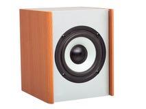 Akustische Spalte mit weißem Lautsprecher Stockfotografie