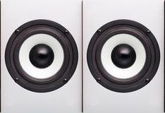 Akustische Spalte mit weißem Lautsprecher Lizenzfreie Stockfotos