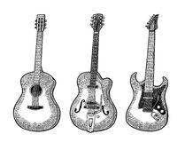 Akustische und elektrische Gitarre Weinlesevektorschwarz-Stichillustration Lizenzfreie Stockfotografie
