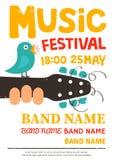 Akustisches Musikfestivalplakat, Flieger mit einem Vogel, der auf einer Gitarre singt Lizenzfreies Stockfoto