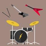 Akustisches solides Werkzeug der schönen modernen E-Gitarren-Jazzinstrumentschnurkonzert-Art und musikalisches Spiel asphaltieren Stockfoto