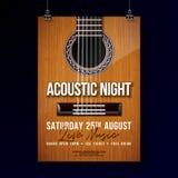 Akustisk design för nattpartireklamblad med rad och bokstäver på gitarrbakgrund Vektor Live Music Illustration stock illustrationer