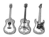 akustisk elektrisk gitarr Illustration för gravyr för tappningvektorsvart stock illustrationer