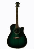 akustisk elektrisk grön gitarr Arkivbilder