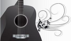 Akustisk gitarr och melodi royaltyfri illustrationer