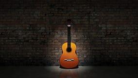 Akustisk gitarrbenägenhet på den grungy väggen Royaltyfri Foto