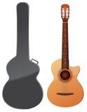 akustisk gitarrillustrationvektor Stock Illustrationer