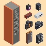 Akustisk hem- isometrisk stereo för solitt system vektor illustrationer