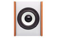 Akustisk kolonn med den vita högtalaren Arkivbilder