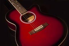 akustisk makro för gitarr för bakgrundsblackclose upp Arkivbilder