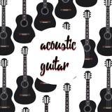 Akustiska gitarrer på vit bakgrund stock illustrationer