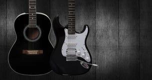 akustyczna gitara elektryczna obraz stock
