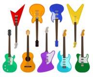 Akustyczny i gitaro elektryczna ustawia, instrumenty muzyczni różnorodnych kolorów wektorowe ilustracje na białym tle royalty ilustracja
